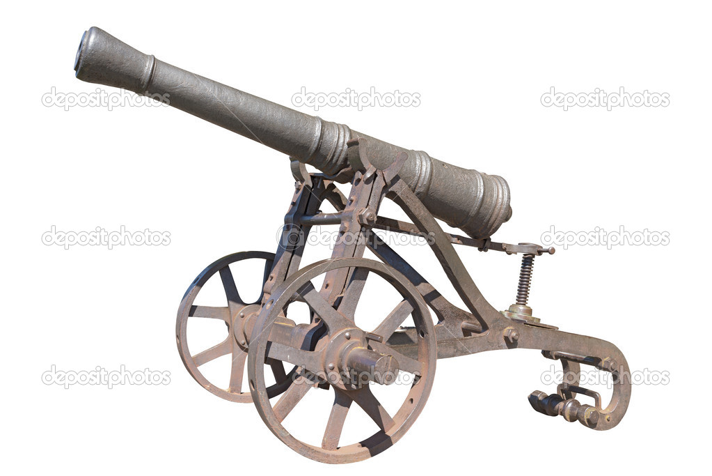 Old cannon isolated on white background  Stock Photo #12454276