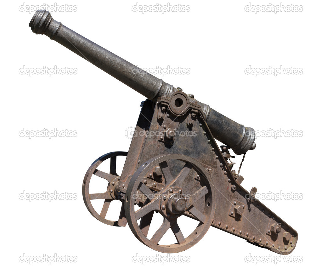 Old cannon isolated on white background  Stock Photo #12454335