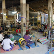 Stock Photo: Textile weaving workshop siem reap cambodia