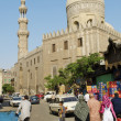 Street scene  with mosque in cairo old town egypt - 图库照片