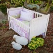 Stock Photo: Baby cot bed in garden