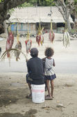 Fish seller on street dili east timor — Stock Photo