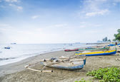 Fishing boats on dili beach east timor — Stock Photo