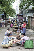 Street market in yangon myanmar — Stock Photo