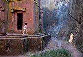 Gamla rock huggen kyrkorna i lalibela etiopien — Stockfoto
