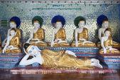 Buddha figures in shwedagon pagoda of yangon myanmar — Stock Photo