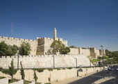 The walls of jerusalem old town israel — Стоковое фото