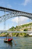 Dom luis bridge landmark in porto portugal — Stock Photo