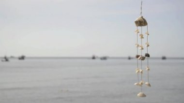 Sea shell wind chime by the sea — Stock Video