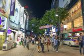 Myeongdong shopping street in central seoul south korea — Stok fotoğraf