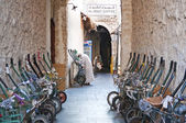 Transport wheelbarrows in old souk of doha qatar  — Stock Photo