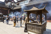 Incense burning in shanghai china temple — Stock Photo