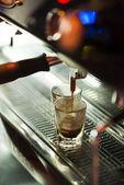 Traditional espresso coffee and machine  — Stock Photo