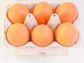 Eggs in carton box — Stock Photo