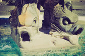 Triton Fountain, Rome retro look — Stock Photo