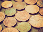 Euro coins retro looking — Stock Photo