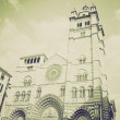 Vintage sepia San Lorenzo church, Genoa — Stock Photo