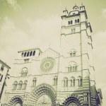 Vintage sepia San Lorenzo church, Genoa — Stock Photo