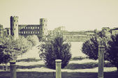 Vintage sepia Torri Palatine, Turin — Stockfoto