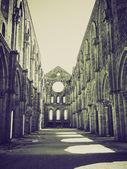 Vintage sepia San Galgano Abbey — Stock Photo