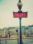 Retro look Metro sign in Paris — Stock Photo