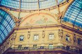 Retro look Galleria Vittorio Emanuele II Milan — 图库照片