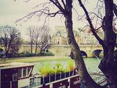 Retro look Ile de la Cite Paris — Stock Photo