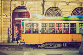 Retro look Vintage tram Milan — Stock Photo