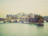 Retro look Ile de la Cite Paris — Stock Photo