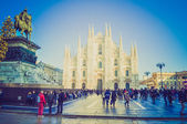 Retro look Duomo Milan — Stock Photo