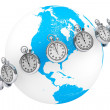 Fast delivery concept. StopWatch with Globe — Stock Photo #12556001