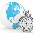 Stock Photo: Fast delivery concept. StopWatch with Globe