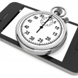 Stopwatch with Mobile Phone — Stock Photo