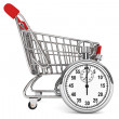 Stopwatch with Shopping Cart — Stock Photo