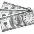 Dollars and Stopwatch — Stock Photo