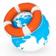 Life Buoy and Earth globe — Stock Photo