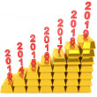 Investment Concept. Stack of Gold bars with years — 图库照片
