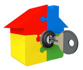 House from puzzle with key and lock — Stock Photo