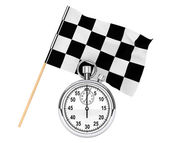 Stopwatch with checkered flag — Stockfoto