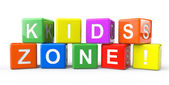 Cubes with Kids Zone sign — Stock Photo