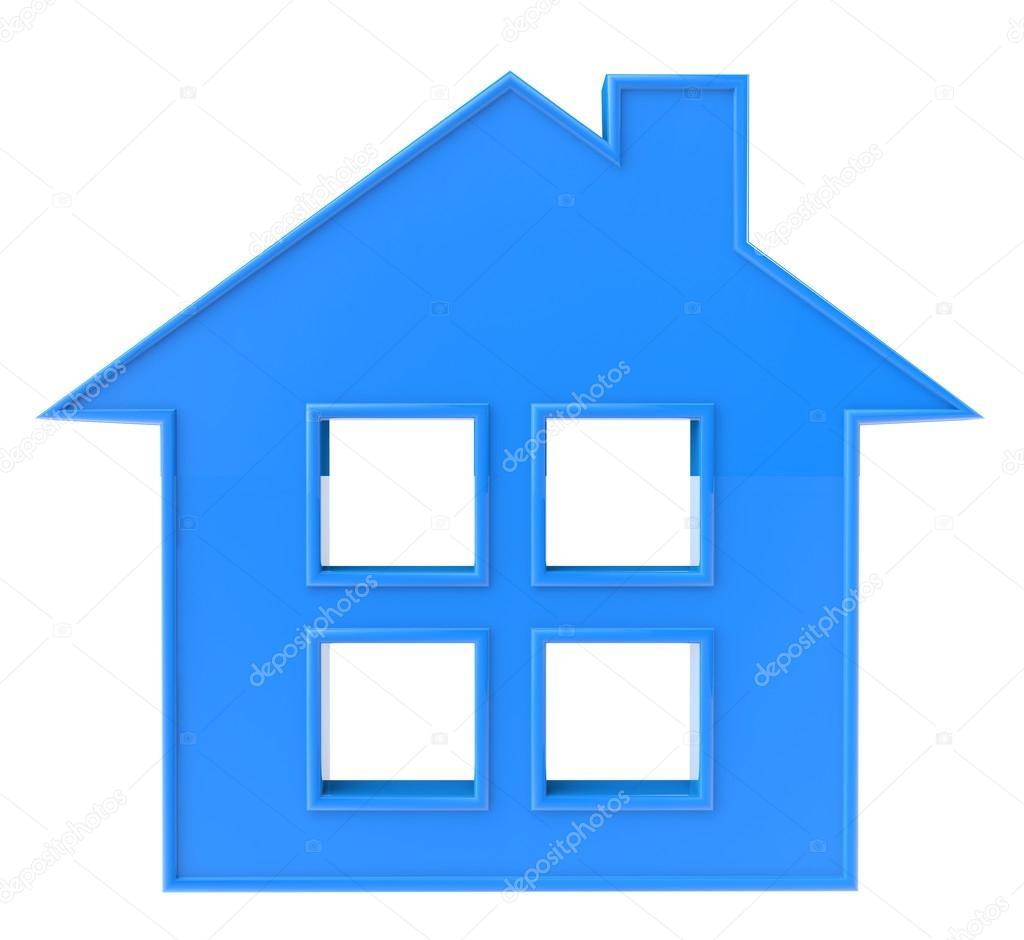 красный и синий домик рисунок