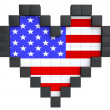 Pixel Heart as USA Flag — Stock Photo