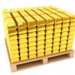Gold Bars with pallet — Stock Photo