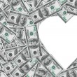 Heart symbol from money — Stock Photo