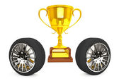 Gold Trophy with wheels — Stock Photo