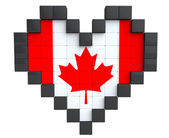 Pixel Heart as Canada Flag — Stock Photo