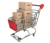 Shopping Cart with stack of boxes — Stock Photo