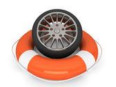Lifebuoy with wheel tyre — Stock Photo