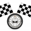 Wheel with racing flags - Stock Photo