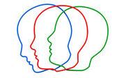 Kontury trzy głowy kolor — Zdjęcie stockowe